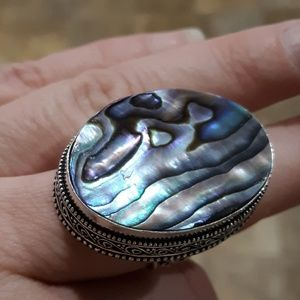 New Huge Abolone Shell Silver Ring. Size 9.25